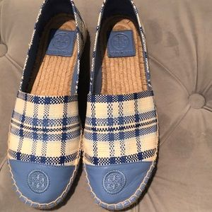 Tory Burch blue and white espadrilles